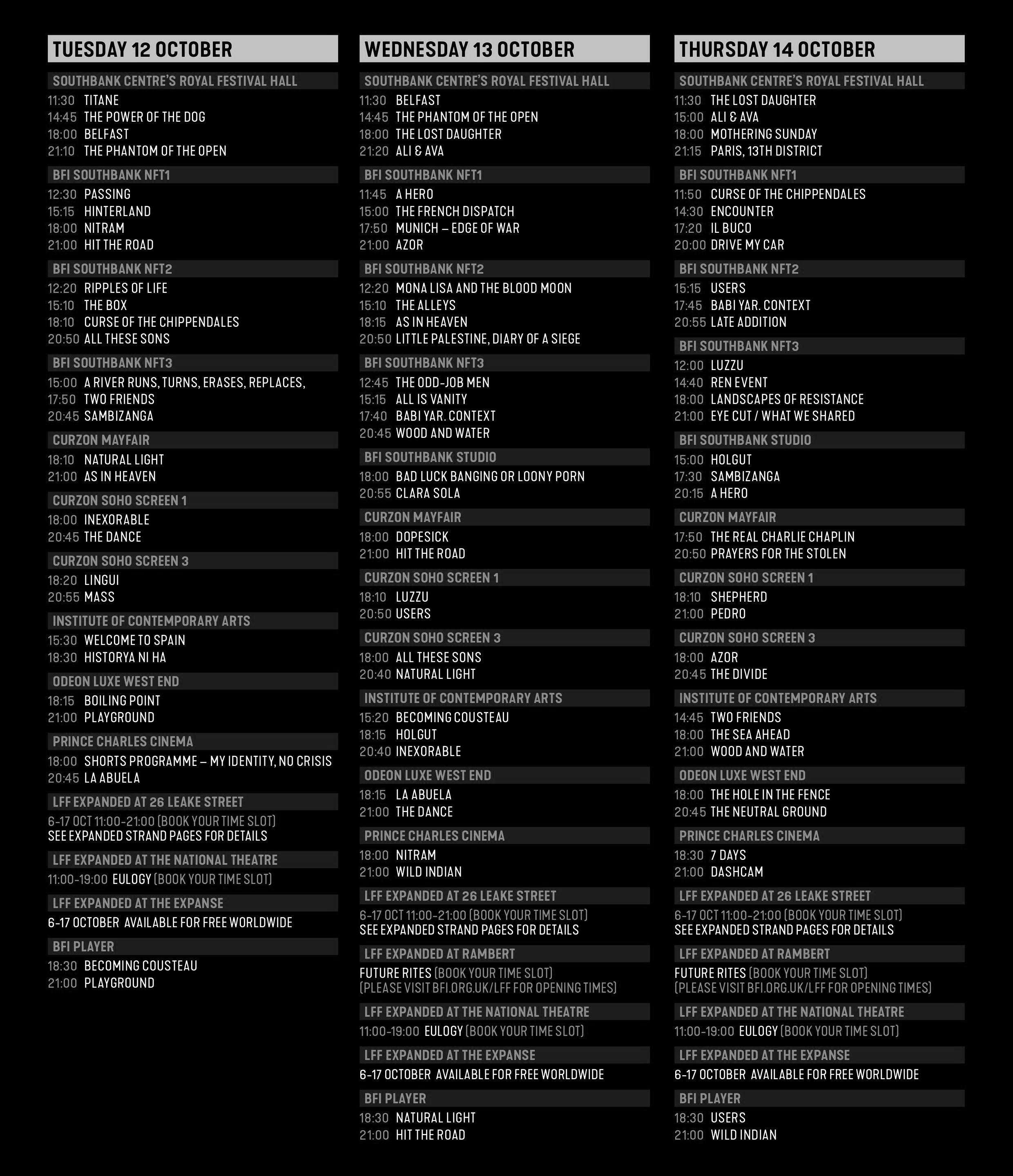 Whats the London Film Festival calendar
