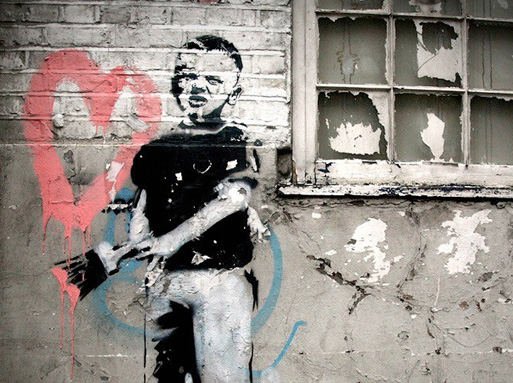 Banksy Boy with heart