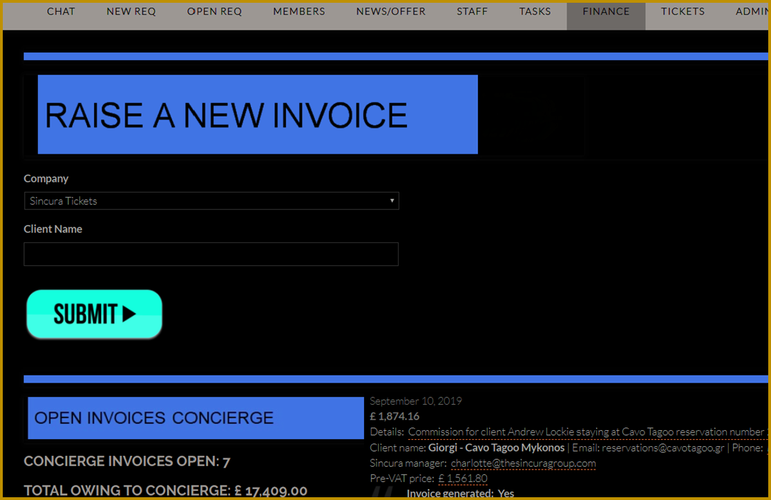sincura franchise invoice concierge solutions