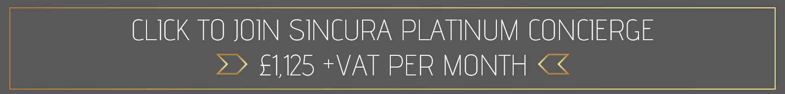 join sincura platinum concierge membership monmthly for the best vip concierge on the market