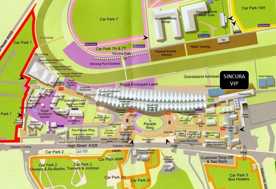 map of royal ascot hospitality sincura silks lawn